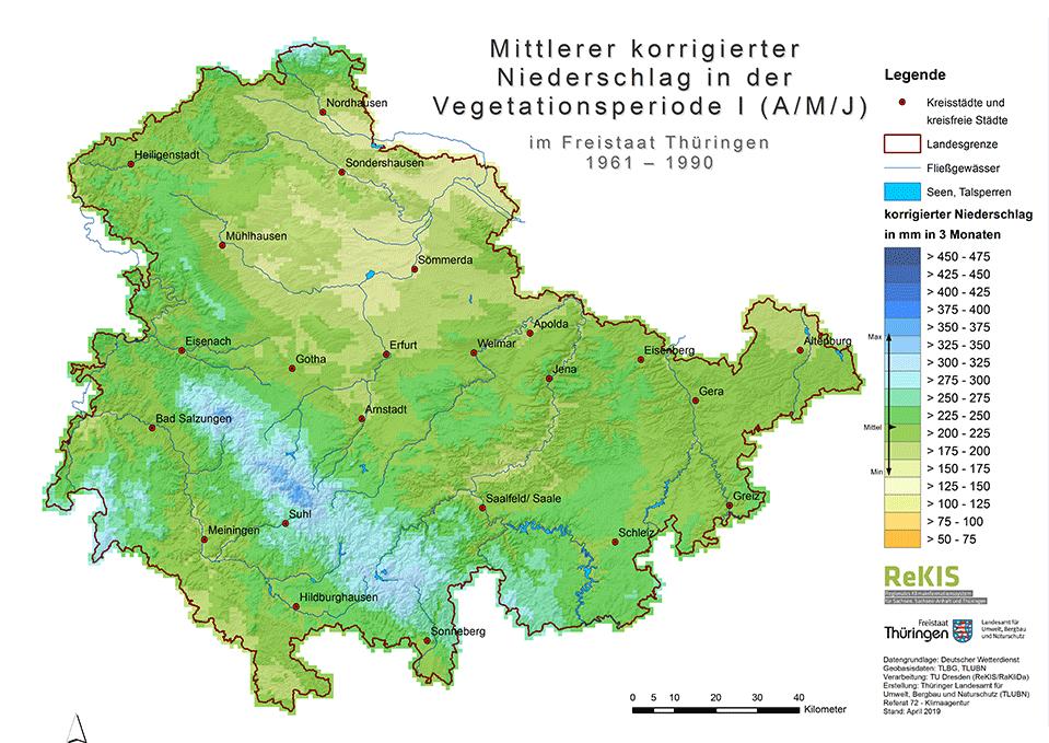 Mittlerer korrigierter Niederschlag in der Vegetationsperiode