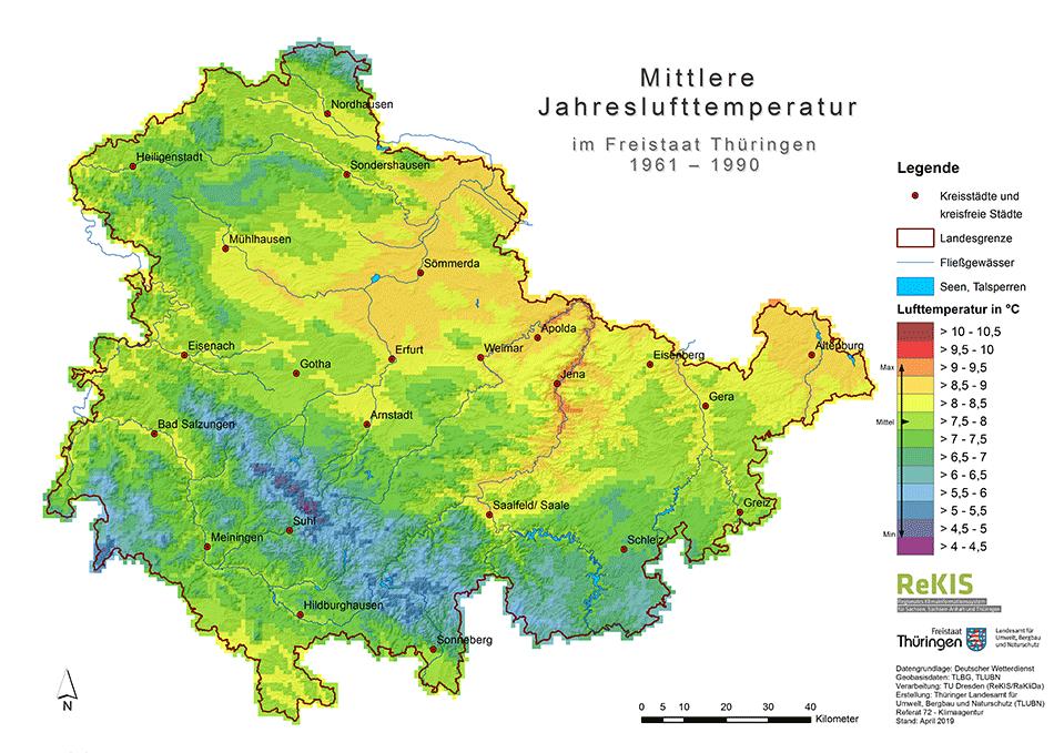 Mittlere Lufttemperatur 1961–1990
