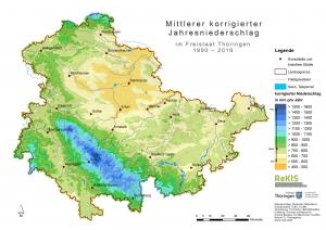 Thüringen-Karte des mittleren korrigierten Jahresniederschlags 1990-2019
