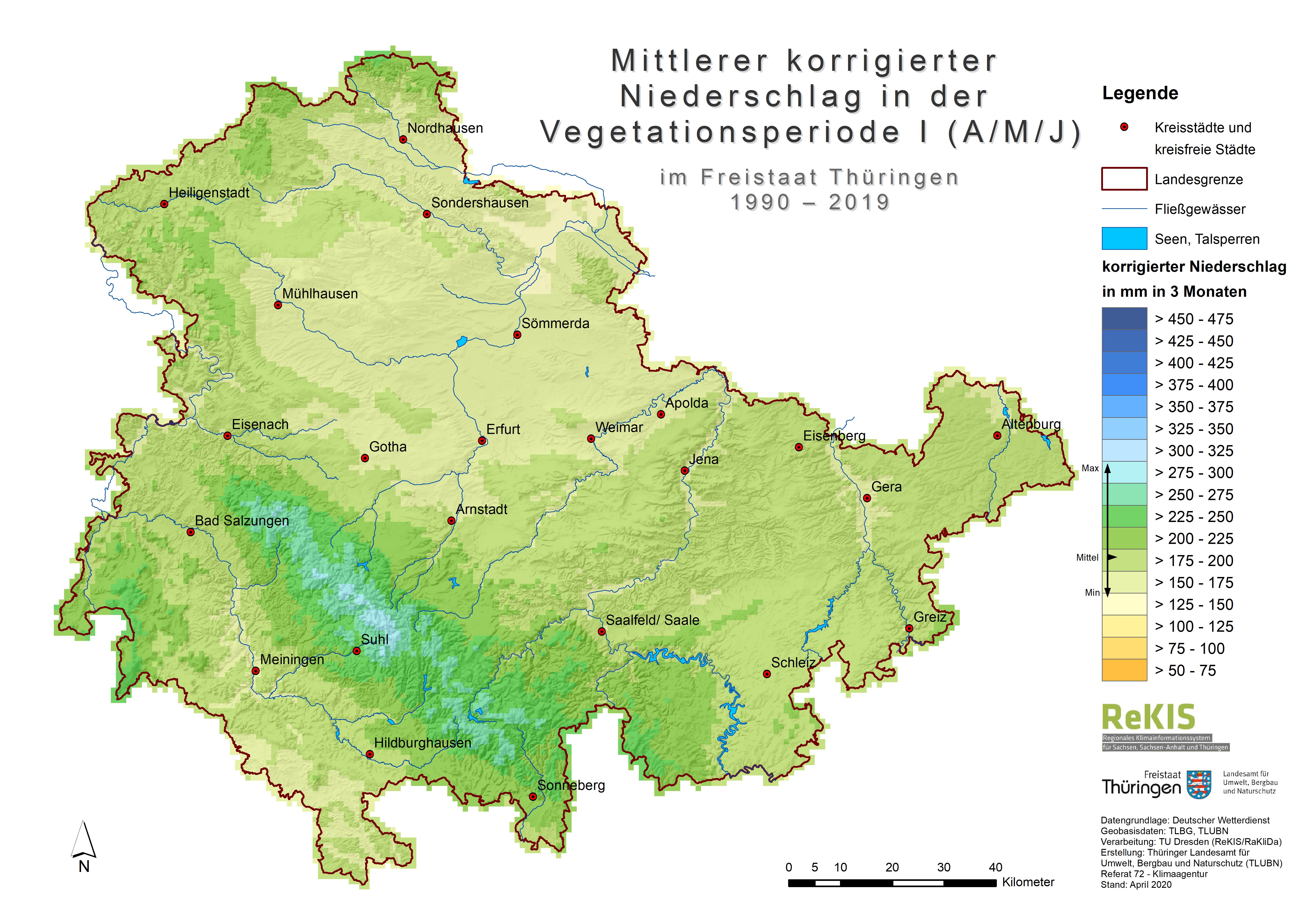 Thüringen-Karte des mittleren korrigierten Niederschlag in der Vegetationsperiode 1 (April, Mai, Juni) 1990-2019 in Thüringen